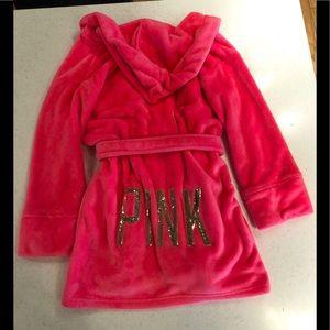PINK Plush Hooded Robe